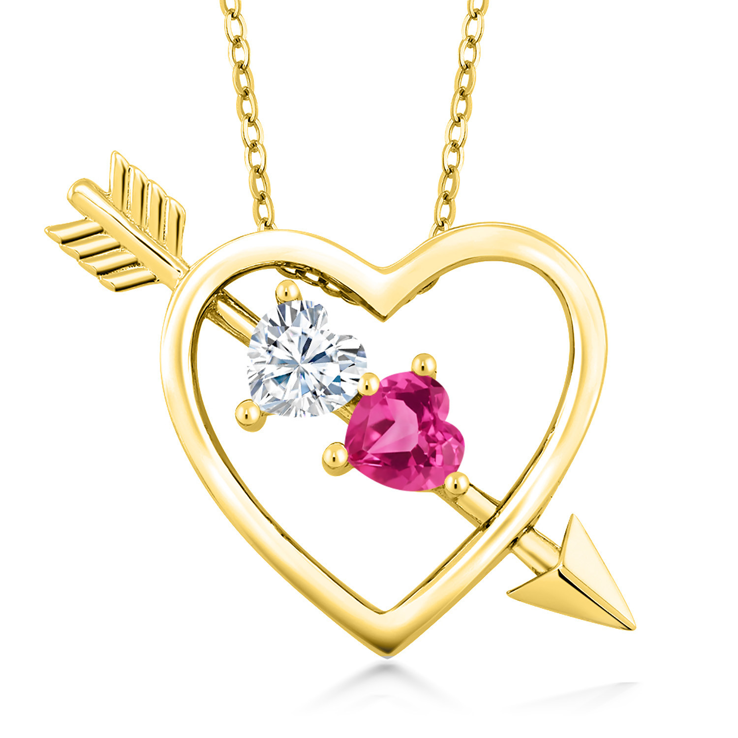 Created Moissanite by Charles /& Colvard and Created Sapphire 925 Sterling Silver Pendant Forever Brilliant DEW GHI Heart Shape 0.50ct