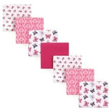 Hudson Baby 7-Pack Butterfly Flannel Receiving Blankets in Pink