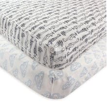 Hudson Baby 2-Pack Airplane Fitted Crib Sheets