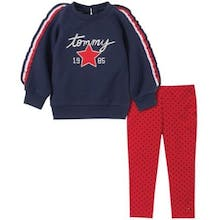 Tommy Hilfiger Size 6-9M 2-Piece Ruffle Sleeve Fleece Top and Legging Set in Navy