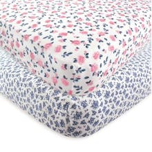 Hudson Baby 2-Pack Floral Fitted Crib Sheets