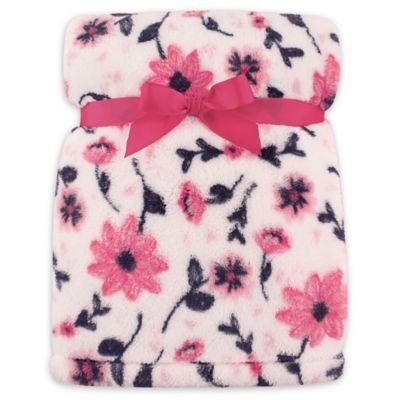 Hudson Baby Florals Super Plush Blanket in Pink